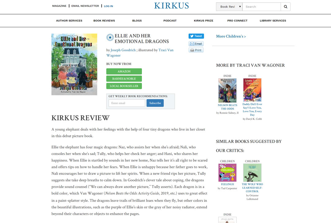 Ellie and Her Emotional Dragons earns the Kirkus Star